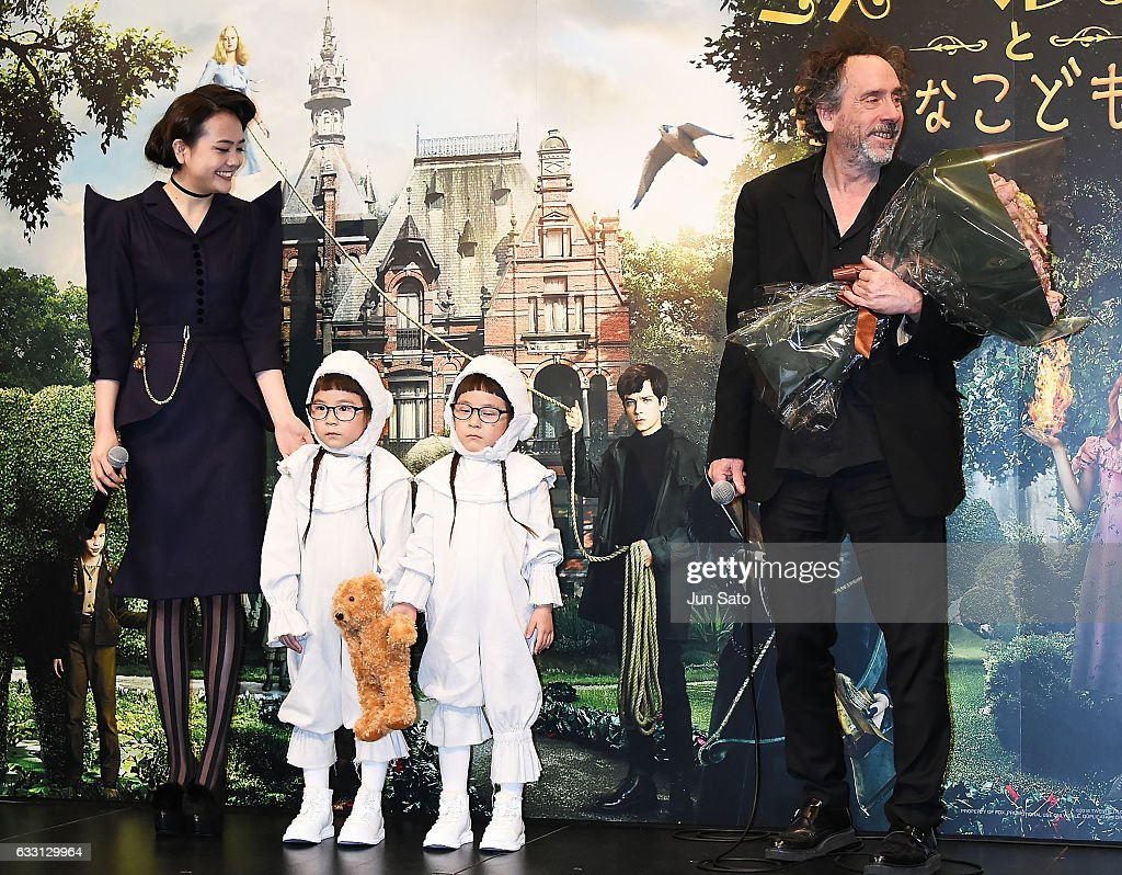 Director Tim Burton, Rinka, Anna and Airi Matsui attend the press conference for the Japanese premiere of 'Miss Peregrine's Home for Peculiar Children' on January 31, 2017 in Tokyo, Japan.