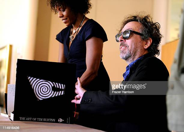 Director Tim Burton signs copies of his Exhibition Catalogue And The Art Of Tim Burton at LACMA where his work is currently being exhibited on May 28...
