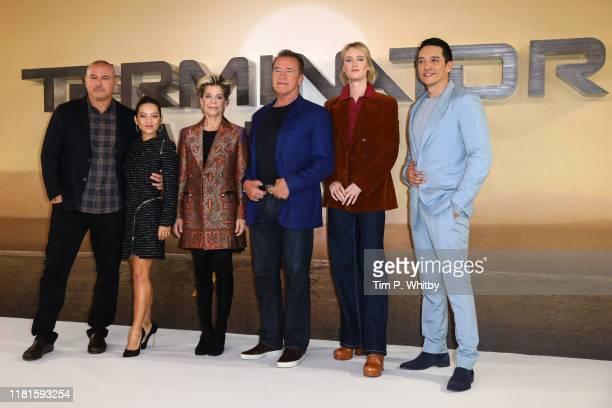Director Tim Miller Natalia Reyes Linda Hamilton Arnold Schwarzenegger Mackenzie Davis and Gabriel Luna attend the Terminator Dark Fate photocall on...
