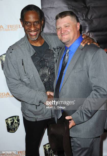 Director Tim Russ and producer Jason F Knittle arrive for the Los Angeles Premiere of 'Miles To Go' held at Writers Guild Theater on April 5 2018 in...