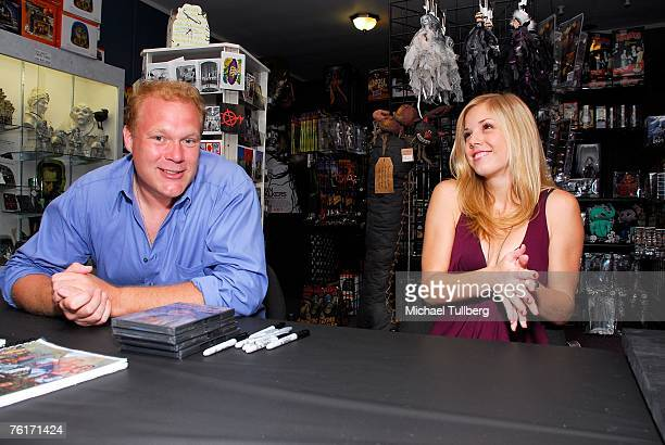 Director Tim Sullivan and actress Amy Baniecki appear at an autograph party for the new graphic novel '2001 Maniacs' held at the Dark Delicacies...