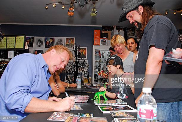 Director Tim Sullivan mingles with the fans at an autograph party for the new graphic novel '2001 Maniacs' held at the Dark Delicacies bookstore on...