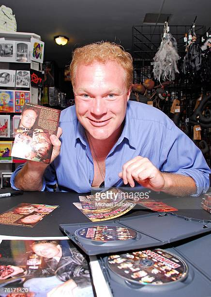Director Tim Sullivan poses at an autograph party for the new graphic novel '2001 Maniacs' held at the Dark Delicacies bookstore on August 18 2007 in...