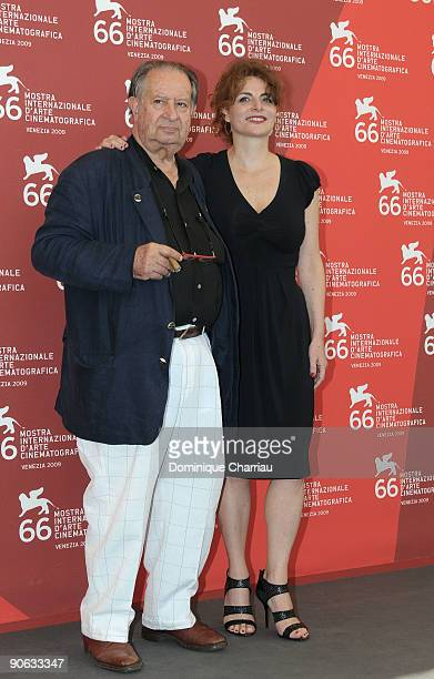 "Director Tinto Brass and actress Caterina Varzi attend ""Hotel Courbet"" Photocall at the Palazzo del Casino during the 66th Venice Film Festival on..."