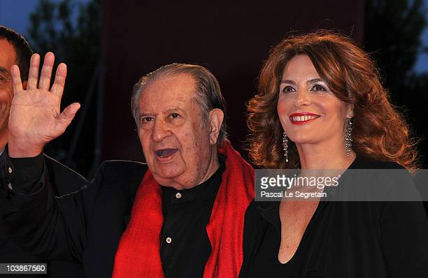 "Director Tinto Brass and Caterina Varzi attends the ""Vallanzasca"" premiere during the 67th Venice Film Festival at the Sala Grande Palazzo Del Cinema..."