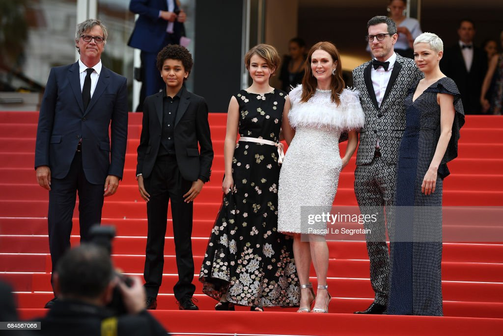 Director Todd Haynes, actor Jaden Michael, actresses Millicent Simmonds, actress Julianne Moore, screenwriter Brian Selznic and actress Michelle Williams leave the 'Wonderstruck' screening during the 70th annual Cannes Film Festival at Palais des Festivals on May 18, 2017 in Cannes, France.