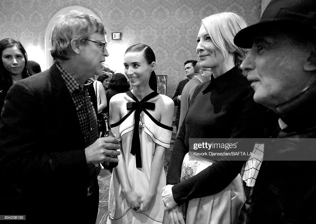This image has been converted to black and white.) (L-R) Director Todd Haynes, actresses Rooney Mara and Cate Blanchett attend the BAFTA Los Angeles Awards Season Tea at Four Seasons Hotel Los Angeles at Beverly Hills on January 9, 2016 in Los Angeles, California.