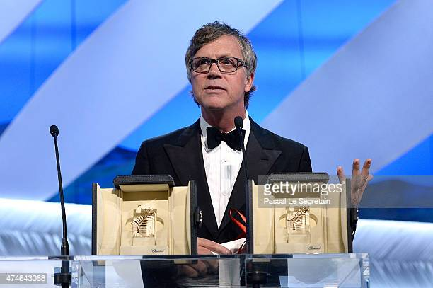 Director Todd Haynes speaks onstage with Rooney Mara Best performance for an actress prize at the closing ceremony during the 68th annual Cannes Film...