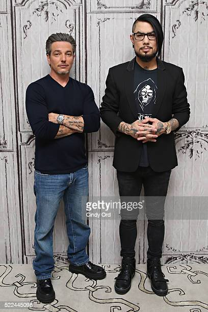 Director Todd Newman and executive producer/ musician Dave Navarro pose for a photo before discussing their film 'Mourning Son' during AOL Build...