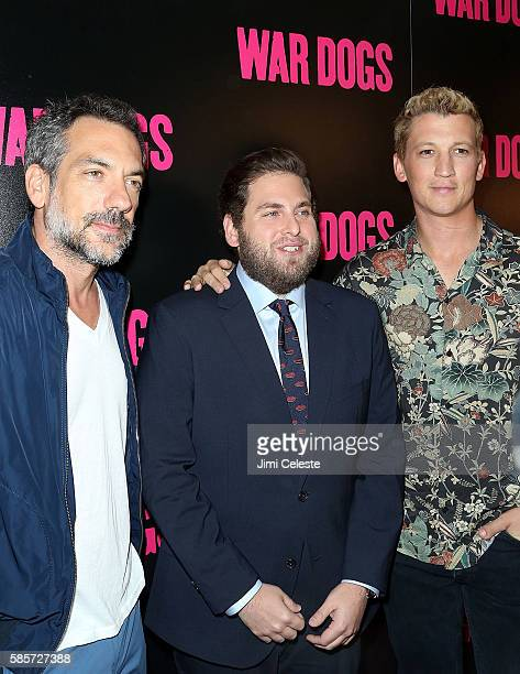 """Director Todd Phillip, Actors Jonah Hill and Miles Teller attend the special screening of """"War Dogs"""" at Metrograph on August 3, 2016 in New York City."""