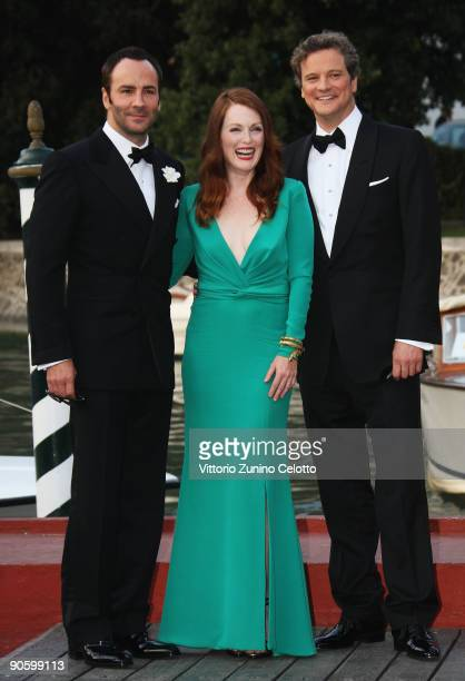 """Director Tom Ford, actors Julianne Moore and Colin Firth arrive at the Excelsior Hotel to attend """"A Single Man"""" premiere during the 66th Venice Film..."""