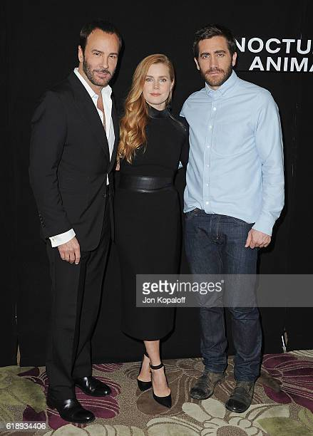 Director Tom Ford actress Amy Adams and actor Jake Gyllenhaal attend the Photo Call For Focus Features' Nocturnal Animals at Four Seasons Hotel Los...