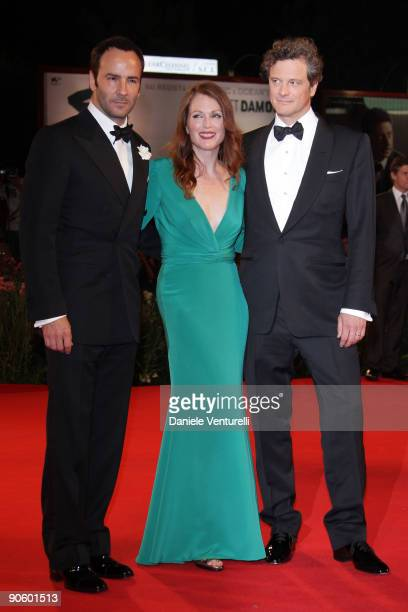 """Director Tom Ford, actress Julianne Moore, actor Colin Firth attend """"A Single Man"""" Premiere at the Sala Grande during the 66th Venice Film Festival..."""