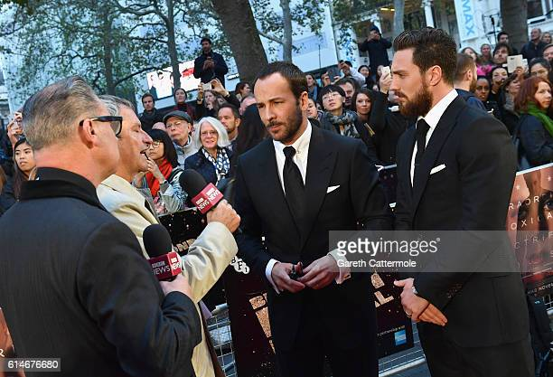 Director Tom Ford and Aaron Taylor-Johnson attend the 'Nocturnal Animals' Headline Gala screening during the 60th BFI London Film Festival at Odeon...