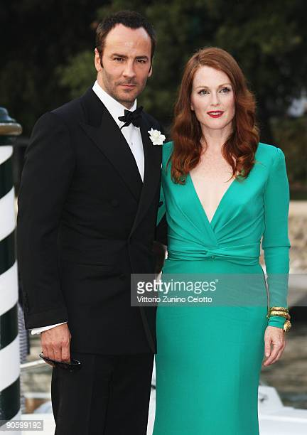 """Director Tom Ford and actress Julianne Moore arrive at the Excelsior Hotel to attend """"A Single Man"""" premiere during the 66th Venice Film Festival on..."""