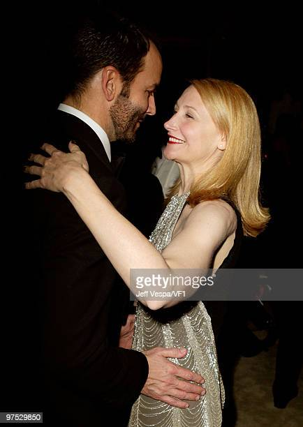 WEST HOLLYWOOD CA MARCH 07 *EXCLUSIVE* Director Tom Ford and actress Patricia Clarkson attend the 2010 Vanity Fair Oscar Party hosted by Graydon...