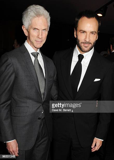 Director Tom Ford and partner Richard Buckley arrive at the UK film premiere of 'A Single Man' at the Curzon Cinema Mayfair on February 1 2010 in...