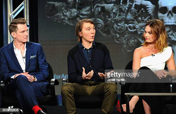 Director Tom Harper and actors Paul Dano and Lily James speak on the War and Peace panel at the AE Networks 2016 Television Critics Association Press...