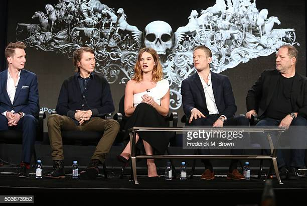 Director Tom Harper and actors Paul Dano Lily James and James Norton and executive producer Harvey Weinstein speak onstage during War and Peace panel...