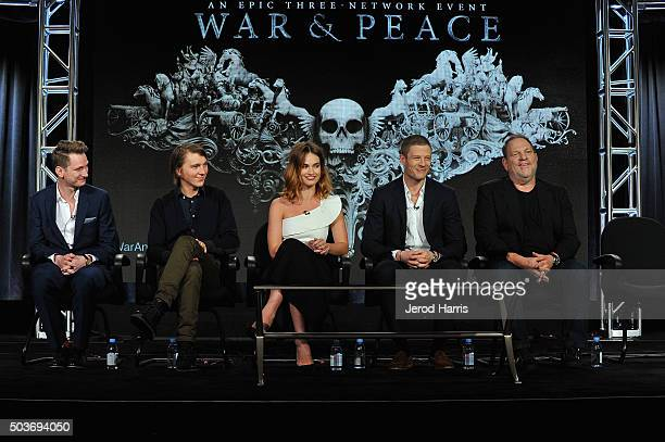 Director Tom Harper and actors Paul Dano Lily James and James Norton speak onstage with executive producer Harvey Weinstein during War and Peace...