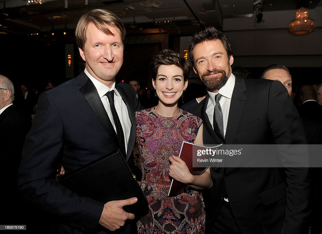 Director Tom Hooper, actors Anne Hathaway and Hugh Jackman during the 65th Annual Directors Guild Of America Awards at Ray Dolby Ballroom at Hollywood & Highland on February 2, 2013 in Los Angeles, California.