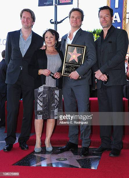 Director Tom Hooper actress Claire Bloom actor Colin Firth and actor Guy Pearce attend a ceremony honoring Colin Firth with the 2429th Star on The...