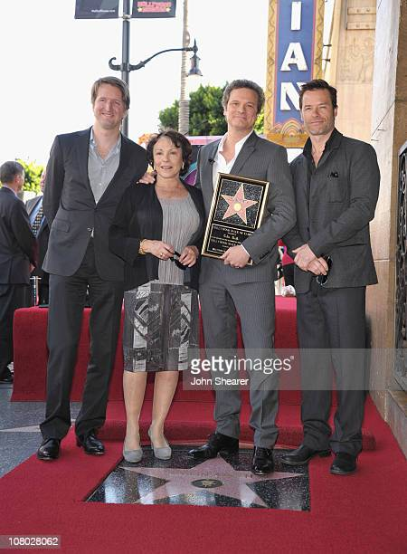 Director Tom Hooper actress Claire Bloom actor Colin Firth and actor Guy Pearce attend Colin Firth's Hollywood Walk Of Fame Induction Ceremony on...