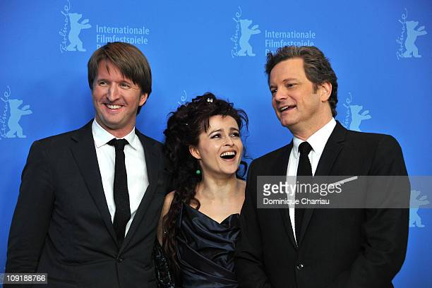 Director Tom Hooper, actress Helena Bonham Carter and actor Colin Firth attend the 'The King's Speech' Photocall during day seven of the 61st Berlin...