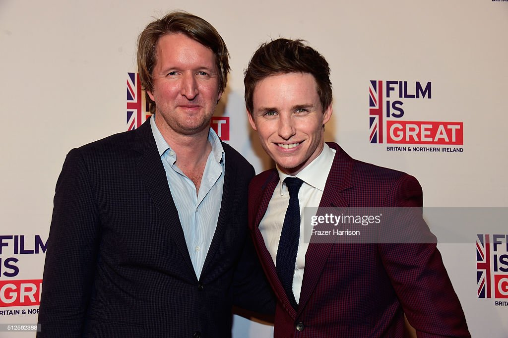 Director Tom Hooper (L) and actor Eddie Redmayne attend the Film is GREAT Reception at Fig & Olive on February 26, 2016 in West Hollywood, California.