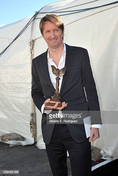 Director Tom Hooper winner of the Best Foreign Film award for 'The King's Speech' at the 2011 Film Independent Spirit Awards at Santa Monica Beach on...