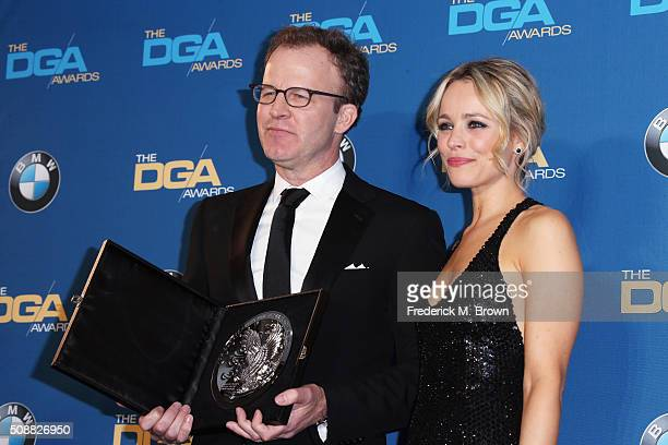"Director Tom McCarthy recipient of the Feature Film Nomination Plaque for ""Spotlight and actress Rachel McAdams pose in the press room during the..."