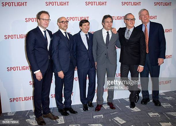 Director Tom McCarthy US actor Stanley Tucci US journalist Mike Rezendes US actor Mark Ruffalo US actor Michael Keaton and US journalist Walter V...