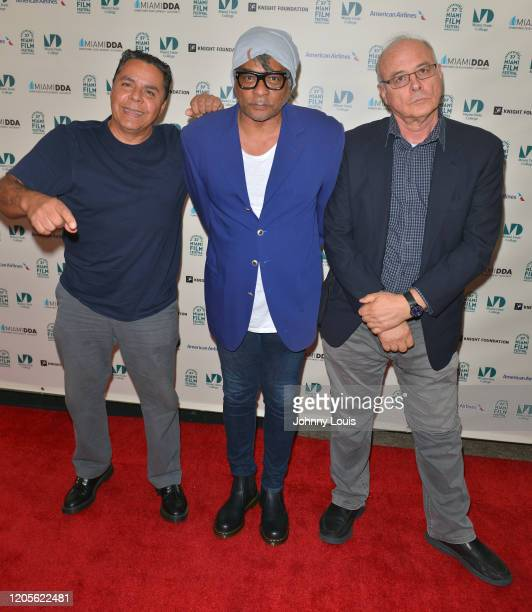 Director Tom Musca Arturo Smith and Jorge Parra from feature film 'Chateau Vato' are seen during 37th Annual Miami Film Festival presented by Miami...