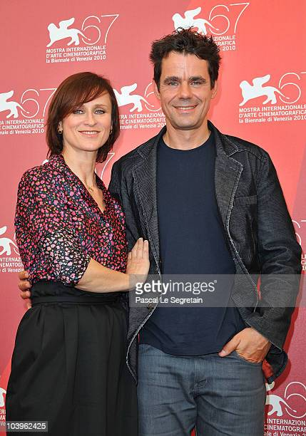 Director Tom Tykwer and actress Sophie Rois attends the Drei photocall during the 67th Venice Film Festival at the Palazzo del Casino on September 10...