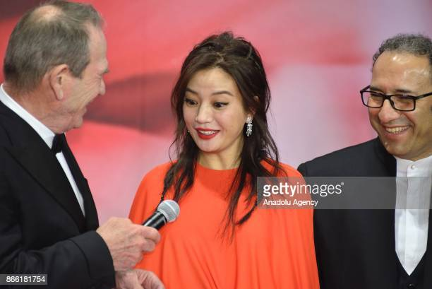 Director Tommy Lee Jones President of the Jury of the 30th Tokyo International Film Festival attends the red carpet with Chinese actress and director...