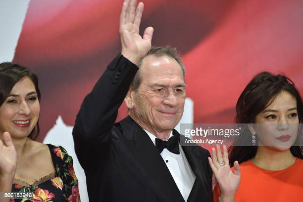 Director Tommy Lee Jones President of the Jury of the 30th Tokyo International Film Festival attends the red carpet with her daughter Victoria Jones...