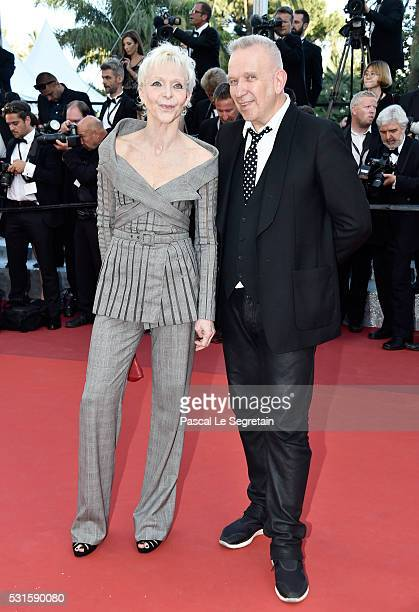 """Director Tonie Marshall and Jean Paul Gaultier attend the """"From The Land Of The Moon """" premiere during the 69th annual Cannes Film Festival at the..."""
