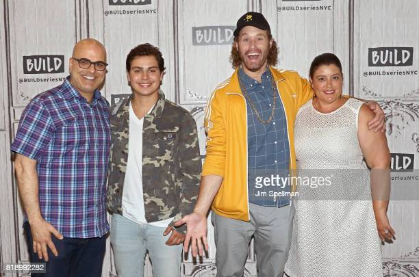 Director Tony Leondis actor Jake T Austin TJ Miller and producer Michelle Raimo Kouyate attend Build to discuss their new movie 'The Emoji Movie' at...