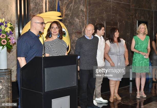 Director Tony Leondis Actors Maya Rudolph Patrick Stewart and Jake T Austin Producer Michelle Raimo Kouyate of The Emoji Movie and Vice President of...