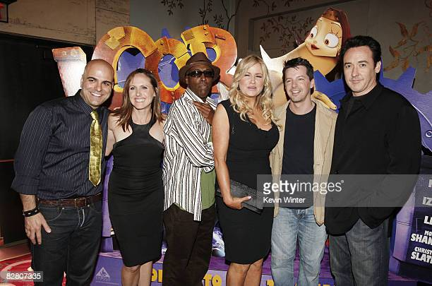Director Tony Leondis actors Molly Shannon Arsenio Hall Jennifer Coolidge Sean Hayes and John Cuscak pose at the premiere of Exodus Film Group's...