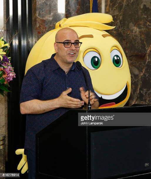 Director Tony Leondis speaks as The Emoji Movie celebrates World Emoji Day at Empire State Building at The Empire State Building on July 17 2017 in...