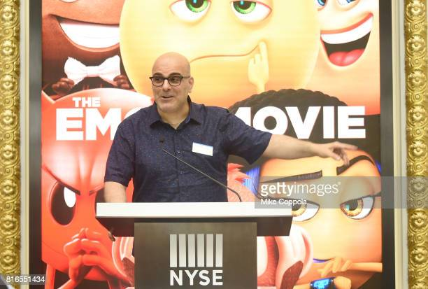 Director Tony Leondis speaks at the ringing of The Closing Bell Of The New York Stock Exchange In Honor Of World Emoji Day at New York Stock Exchange...