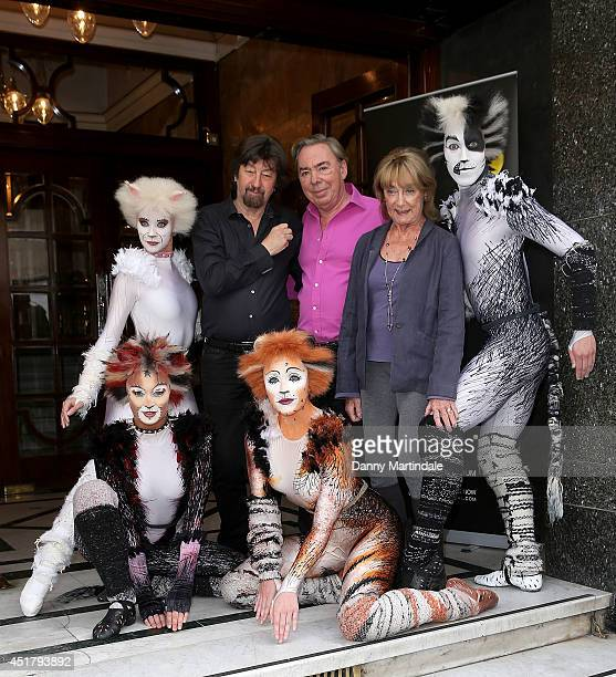 Director Trevor Nunn Andrew Lloyd Webber and choreographer Gillian Lynne attends a photocall for Cats at London Palladium on July 7 2014 in London...