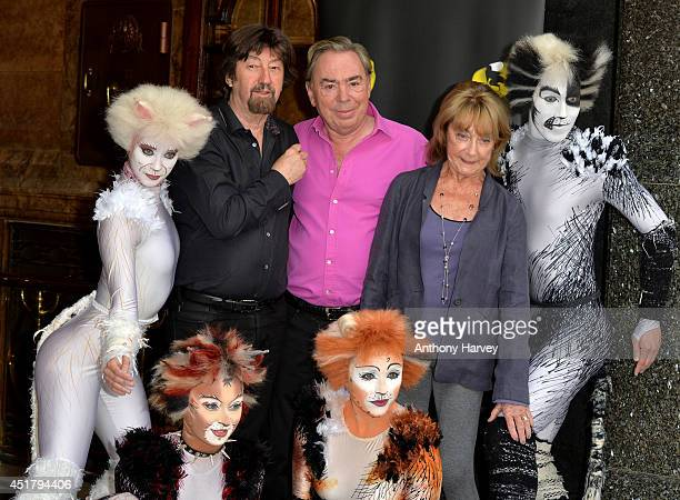Director Trevor Nunn Composer Andrew Lloyd Webber and Choreographer Gillian Lynne with cast members pose during a photocall for Cats at London...