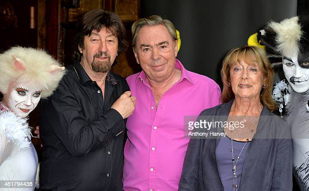 Director Trevor Nunn Composer Andrew Lloyd Webber and Choreographer Gillian Lynne pose during a photocall for Cats at London Palladium on July 7 2014...