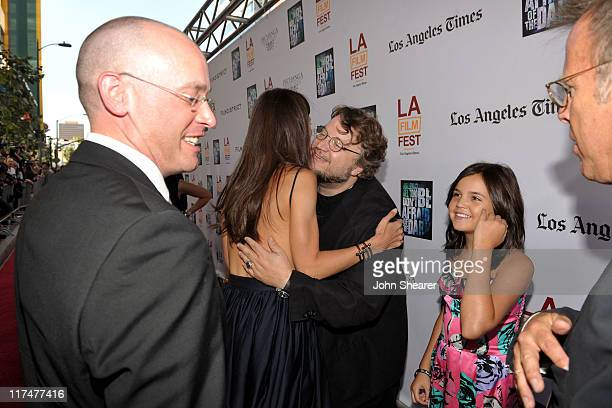 "Director Troy Nixey, actress Katie Holmes, Writer/Producer Guillermo del Toro, actress Bailee Madison and Producer Mark Johnson arrive at the ""Don't..."
