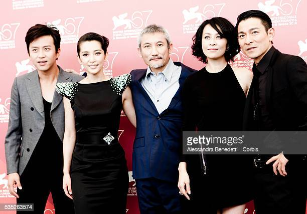 Director Tsui Hark Andy Lau Carina Lau Deng Chao and Li Bingbing attend the photocall of Di RenJie Zhi Tongtian di Guo presented in competiiton at...
