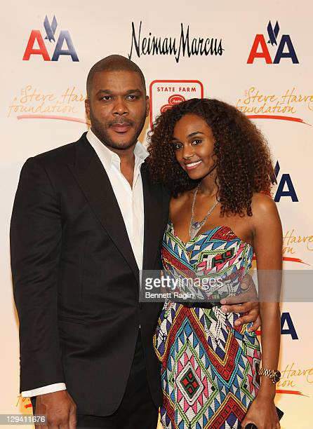 Director Tyler Perry and model Gelila Bekele attend the 2nd annual Steve Harvey Foundation gala at Cipriani Wall Street on April 4 2011 in New York...