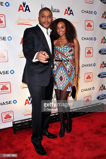 Director Tyler Perry and model Gelila Bekele attend the 2nd annual Steve Harvey Foundation gala at Cipriani Wall Street on April 4, 2011 in New York...