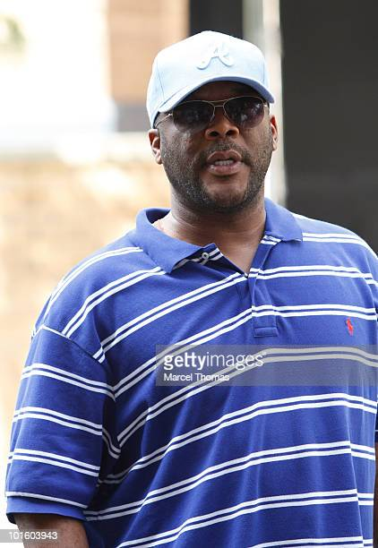Director Tyler Perry is seen on location for the filming of ''For Colored Girls Who Have Considered Suicide When the Rainbow Is Enuf'' in Washington...